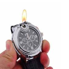 Watch With Cigarette Lighter - Black