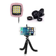 Pack of 3 - Tripod Stand, Mobile Lens and Selfie Stick Combo