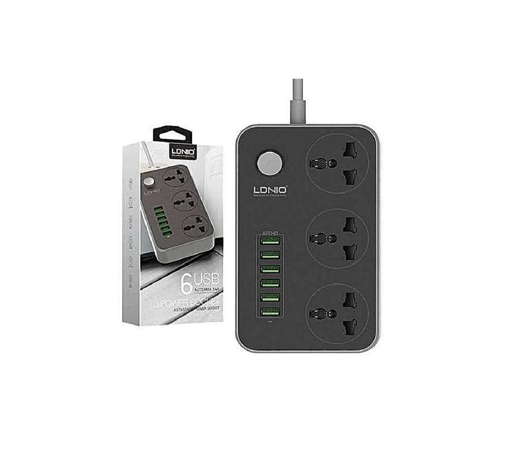 Ldnio Power Strip with 3 AC সকেট and 6 USB পোর্ট SC3604 - Black বাংলাদেশ - 734384