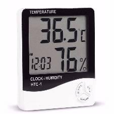 Digital Room Temperature Meter with Clock HTC-1 - White