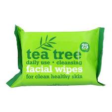 Tea Tree ক্লিন্সিং ফেসিয়াল ওয়াইপ (25pcs) - UK