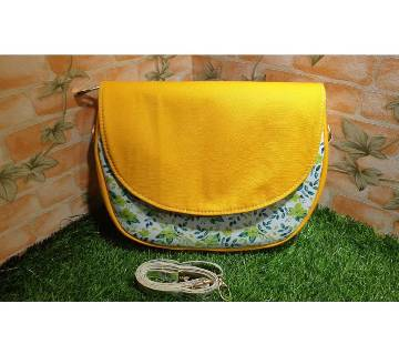 PU Leather and Fabric mix Saddle Bag