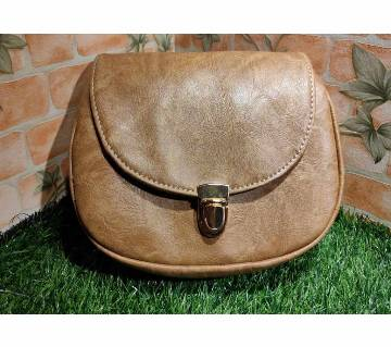 Biscuit Color PU Leather Crossbody Saddle Bag
