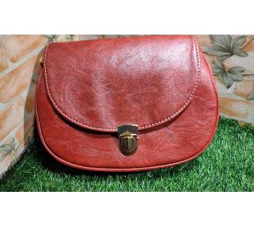 Red Color PU Leather Crossbody Saddle Bag