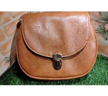 Brown Color PU Leather Crossbody Saddle Bag