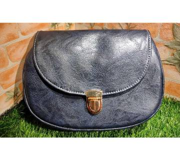 Blue Color PU Leather Crossbody Saddle Bag