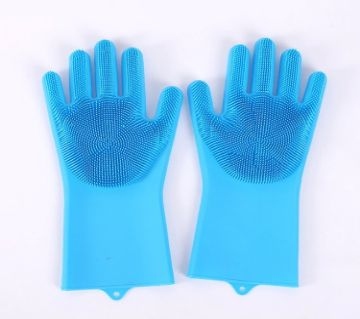 Kitchen Silicone Cleaning Gloves Silicone Dish Washing Gloves-Blue Color
