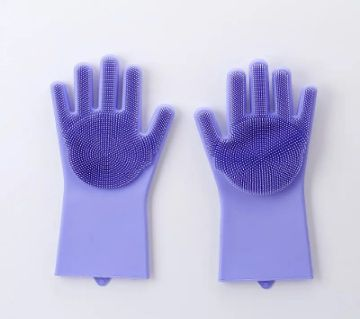 Kitchen Silicone Cleaning Gloves Silicone Dish Washing Gloves - Purple Color