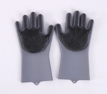 Kitchen Silicone Cleaning Gloves Silicone Dish Washing Gloves - Grey Color