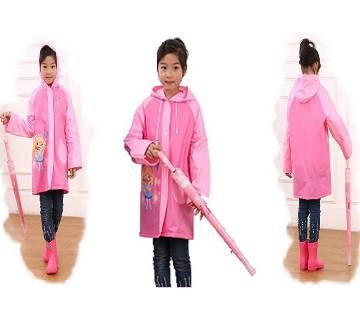 Cute Cartoon Kids Non Toxic PVC Raincoat - Pink