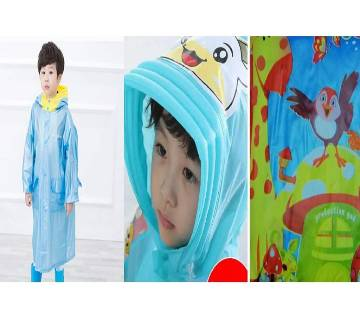 Kids Raincoat with Inflatable Hat and Cartoon Printed Bag Position - Blue