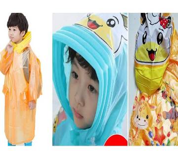 Kids Raincoat with Inflatable Hat and Cartoon Printed Bag Position - Orange