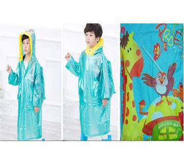 Kids Raincoat with Inflatable Hat - Lake Blue