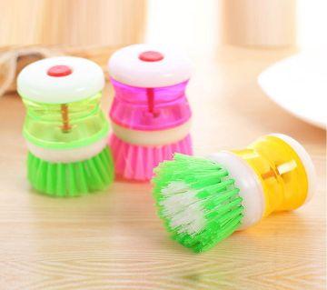 Liquid Soap Dispenser Plastic Pot Dish Cleaning Brush