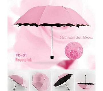 Magical Surface Sun & Rain Dual Protection Travel Umbrella- Pink