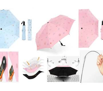 Stylish Sun & Rain Dual Protection Umbrella for Female- Light Blue with Floral Design