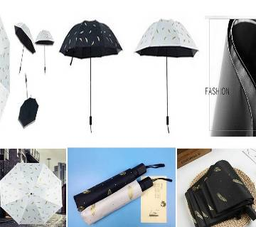 Black Feather Design Portable Compact Folding Travel Umbrella