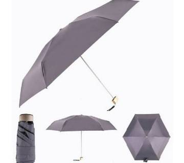 Ultra Light Flat Design Mini Pocket 5 Fold Umbrella Sun-Rain Dual Protection-Gray