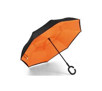 Oversize (108 CM) Orange-Black Reverse Umbrella with Double Layer Fabric and C-shape Handle for Vehicle and personal use