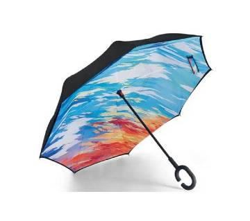 Oversize (108 CM) Genuine Blue Symphony  Reverse Umbrella with Double Layer Fabric and C-shape Handle for Vehicle and personal use