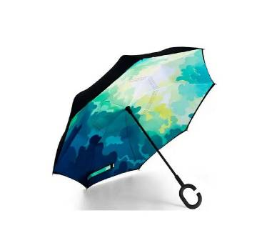 Oversize (108 CM) Genuine Green Filter Reverse Umbrella with Double Layer Fabric and C-shape Handle for Vehicle and personal use