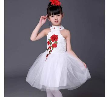 White Summer Princess Sleeveless Dress With Hair Clips Flowers