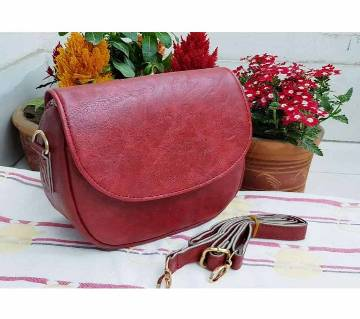 Artificial Leather Cross Body Bag -Red