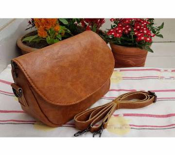Artificial Leather Cross Body Bag - Brown