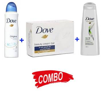 Dove Beauty Cream Bar soap + Dove Nutritive Solution Shampoo + DOVE Body Spray for women - Combo Offer