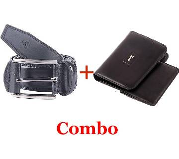 Mens Mixed Leather Belt+YSL Leather Wallet For Men Combo