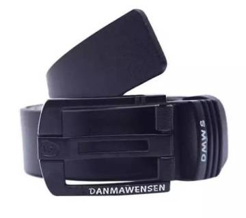 Black Artificial Leather Formal Belt For Men