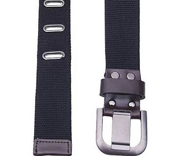 Black Fabric Casual Belt For Men