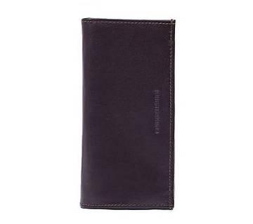 Dark Brown Long Shaped Leather Wallet For Men