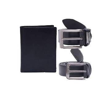 Combo Pack of Black Leather Belt and Wallet For Men