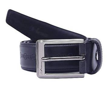 Black Artificial Leather Formal Belt For Men