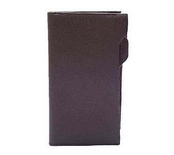Dark Brown Artificial Leather Long Shaped Wallet