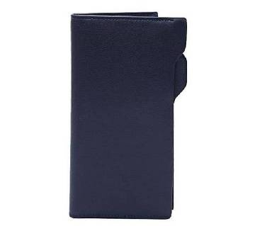 Navy Blue Artificial Leather Long Shaped Wallet