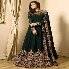Semi stitched Georgette Embroidery Long Suit (Replica)