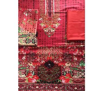 Unstitched Cotton Lawn 3Pcs-Red