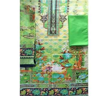 Unstitched Cotton Lawn 3Pcs-Green