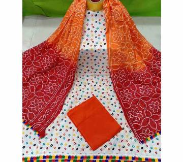 Unstitched Joypuri Cotton 3piece Red & Orange
