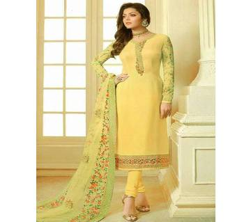 Unstitched Embroidery Georgette Three Piece ( Replica )