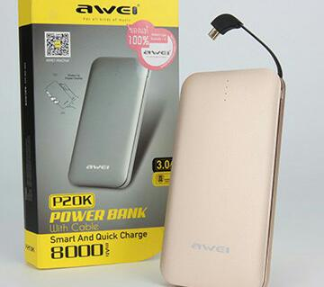 Portable Power Bank Awei P20K Power Bank 8000mAH Intelligent Fast Charging For Phone Gold