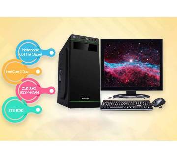 """Desktop Computer Package - Intel Core 2 Duo+ 1TB HDD+RAM 2 GB with 17"""" LED"""