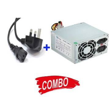 Computer Power Supply (500W) + PC Power Cable Combo Offer