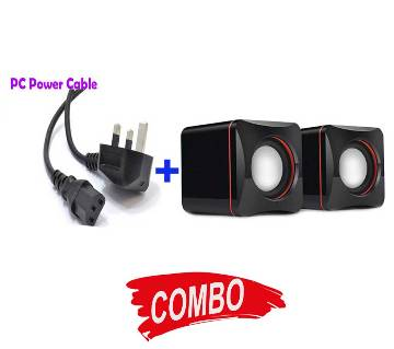 PC Power Cable + Duel Mini Speaker Combo Offer