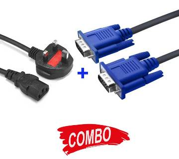 VGA Cable For Monitor + Power Cable (Good) for Desktop PC Combo Offer