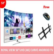 "ROYAL VIEW 50"" ANDROID SMART FULL UHD+4K CURVE TV"