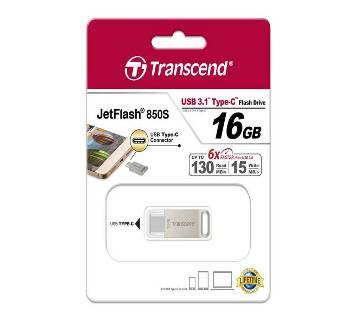 Transcend JetFlash 850S USB 3.1 Type C 16gb OTG পেনড্রাইভ