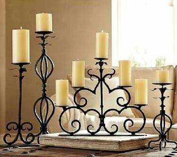 Candle holder with decoration